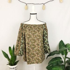 Anthro. One September floral boho peasant blouse S